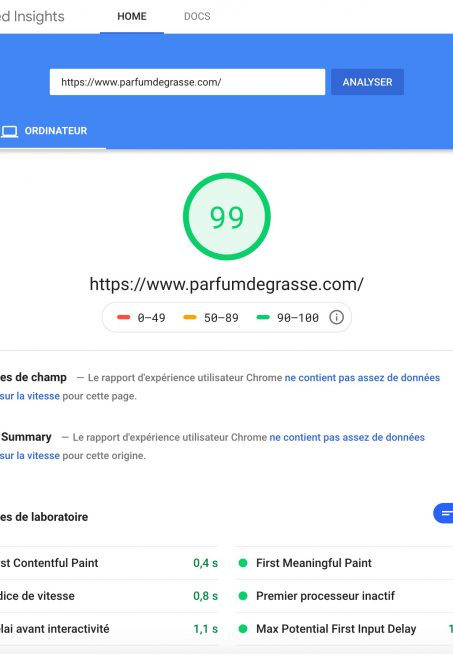 Google Page Speed Parfums de Grasse